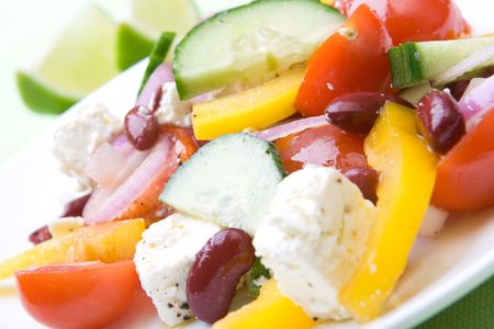 Fresh greek salad ready to eat