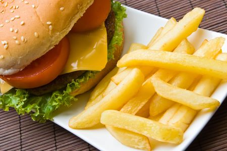 beefburger: Delicious beefburger with french fries