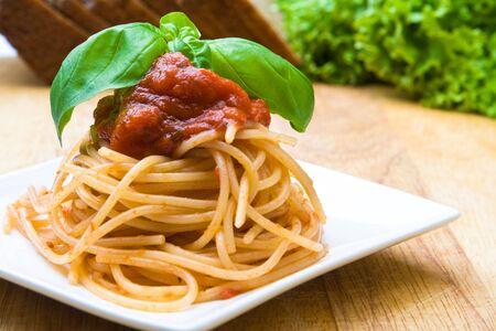 Fresh spaghetti with tomato sauce and a green leaf (focus on leaf)