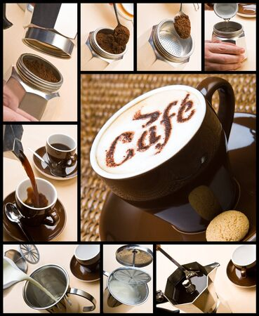 Series of pictures on making a cappuccino photo