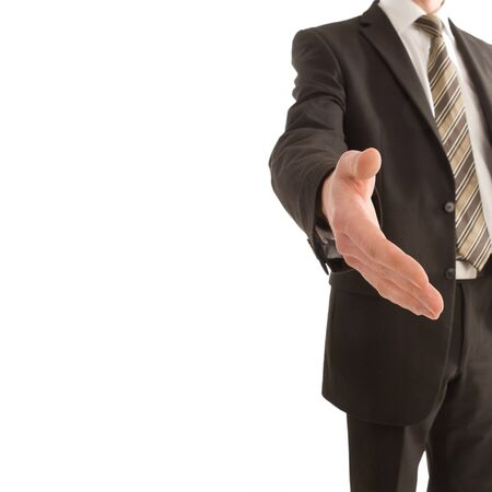 Business man holding out his hand with copy space isolated on white Stock Photo - 3958981