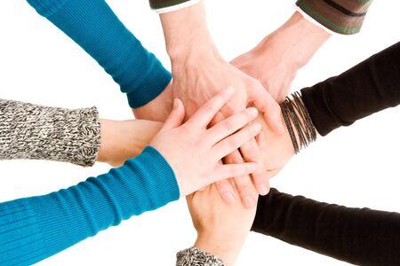 reaching hands: Handen samengevoegd geïsoleerd op wit