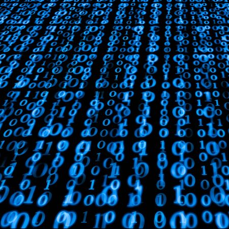 Binary numbers in blue going into the distance Stock Photo - 4184971