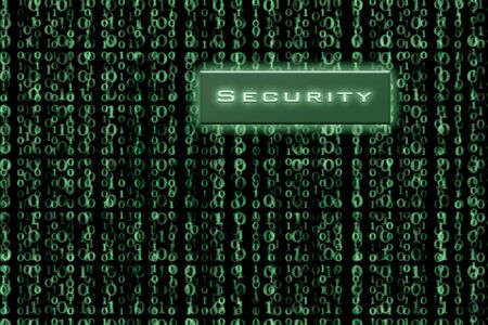 Security button on a green binary background Stock Photo - 4184977