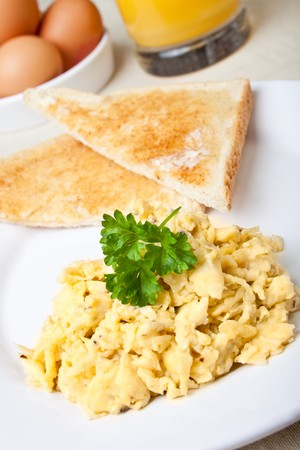 scrambled: Healthy breakfast of scrambled with fresh toast