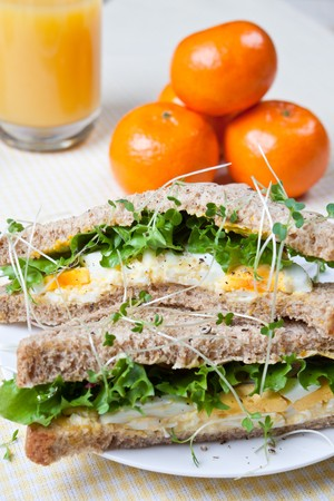 Fresh egg and salad sandwich with clementines and a glass of orange juice in the background photo