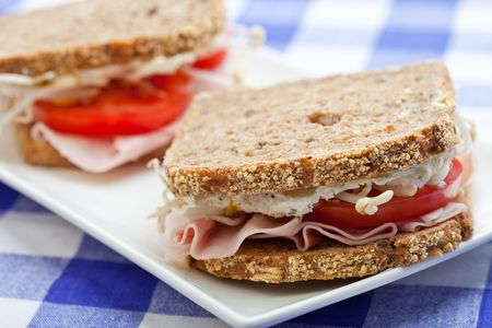 Healthy ham, cheese and tomato sandwich on a white plate photo