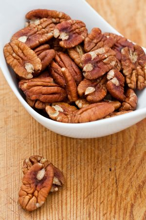 Fresh Pecan nuts in a white bowl