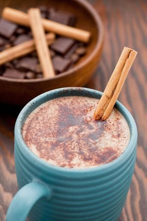Hot chocolate with a cinnamon stick in a mug