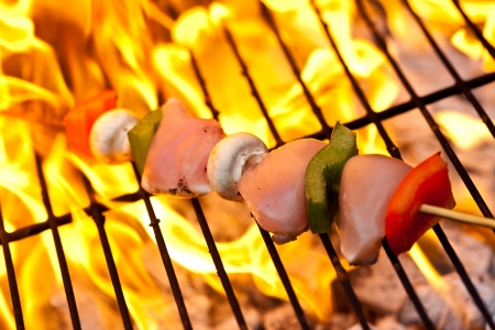 Chicken skewers on the bbq with pepper and mushrooms. Shallow DOF