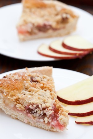 rhubarb: Rhubarb and aple crumble  pie with slices of apple Stock Photo