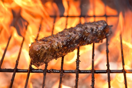 Beef kabob on a Barbecue with shallow DOF photo
