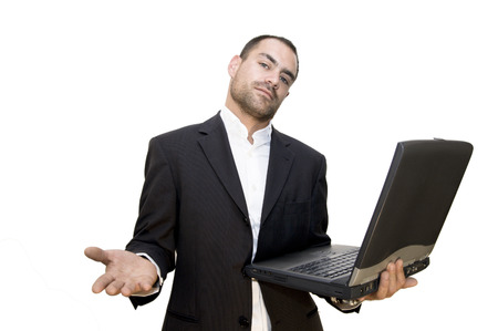 30 years old man standing with a laptop