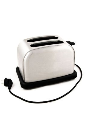 Bread toaster isolated on white. Stock Photo