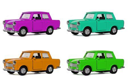 Berühmte DDR-Auto in vier Farben, die orange ist der ursprüngliche