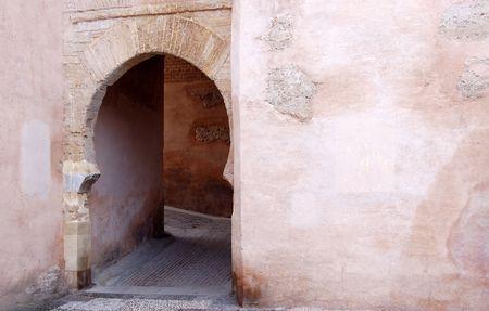 Arabic arch door in Granada Stock Photo