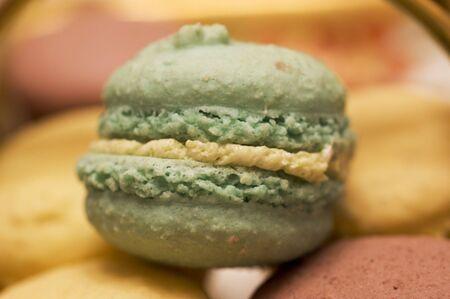 closeup picture of a small pistachio cake photo