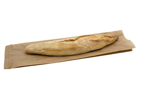 French bread on paper bag isolated on white photo