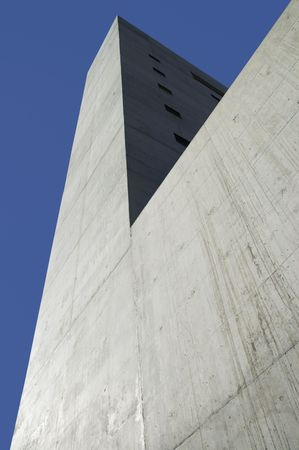 Concrete building with blue sky background