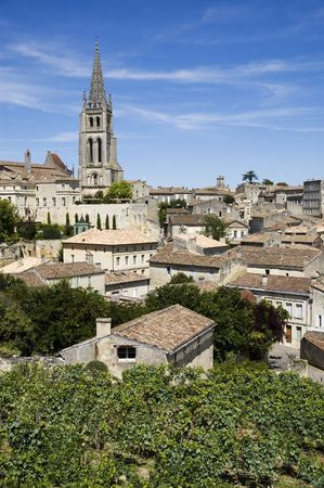 aquitaine: French vineyard with the village of Saint Emilion in the background
