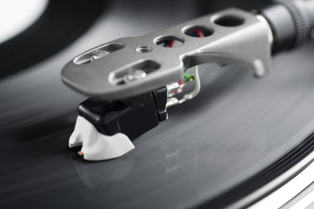 Spinning record with stylus close-up