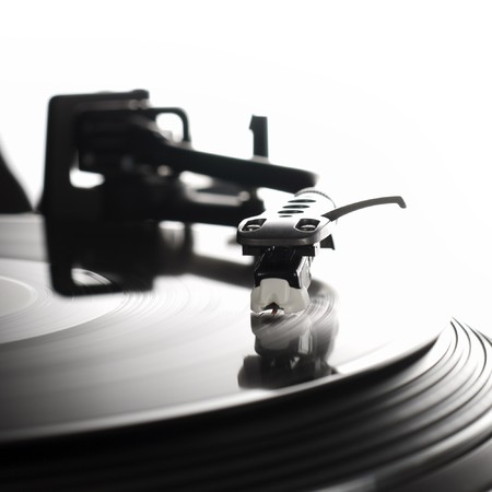 Close-up image of a record player Stock Photo