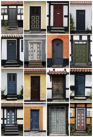 puertas antiguas: 16 puertas antiguas, Dinamarca.  Foto de archivo