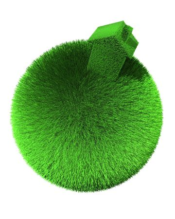 house of grass on sphere of grass photo