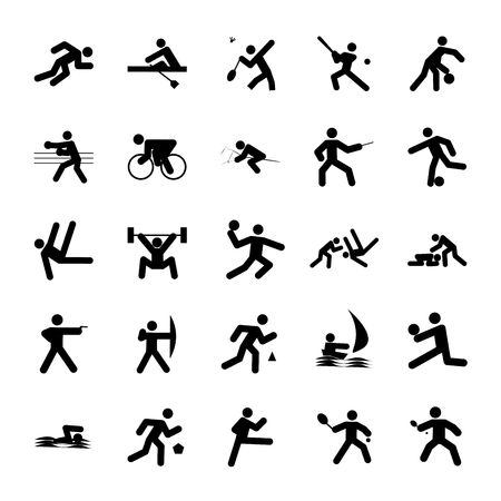 logos of sports, sports competitions buttons black on white background