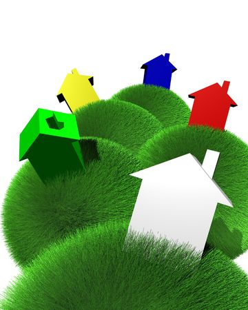 houses colored on spheres of grass Stock Photo - 3564773