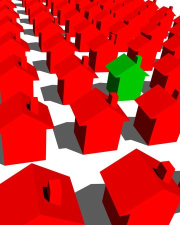 green house with red houses Stock Photo - 3593316