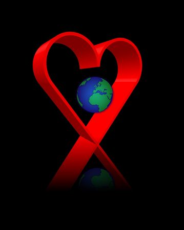 heart band red on black background with earth photo