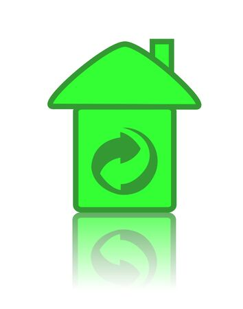 house and recycling on white background photo