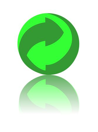 logo recyclage: point vert sur fond blanc de recyclage