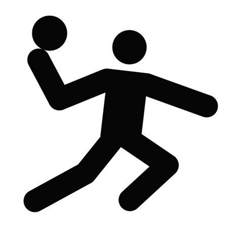 Logo der Handball, schwarz Silhouette eines Mannes