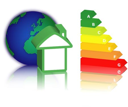 house with energy classification and earth photo