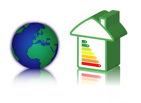 norm: house with energy classification and earth Stock Photo