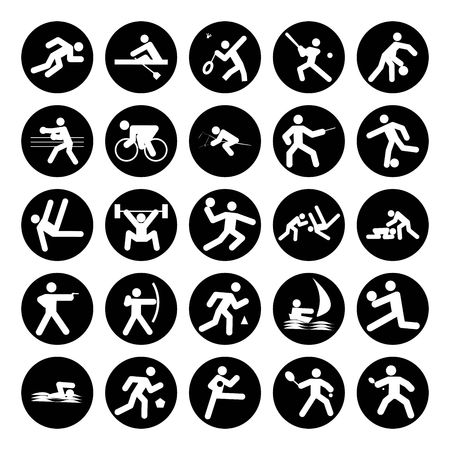 pentathlon: logos of sports, sports competitions buttons black on white background
