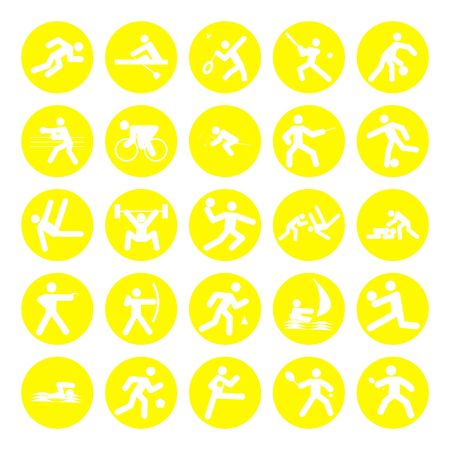 logos of sports, olympics games, yellow on white background photo
