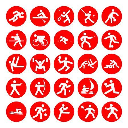 balonmano: logos de deportes, Juegos Ol�mpicos, de color rojo sobre fondo blanco