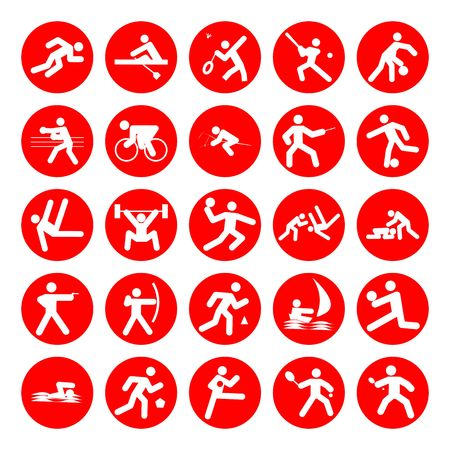 pentathlon: logos of sports, sports competitions games,red on white background Stock Photo