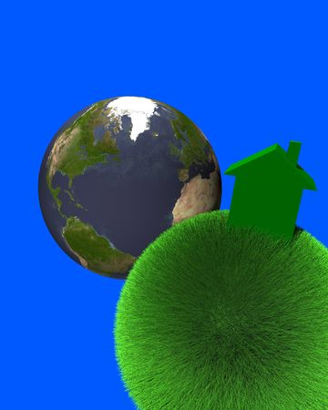 macroscopic: green house on sphere of grass with earth