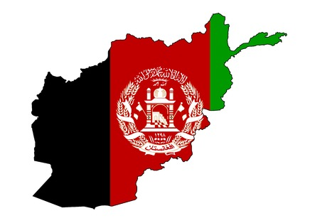 map and flag of afghanistan on white background Ilustrace