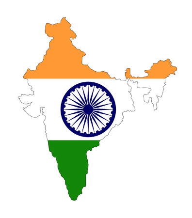 bombay: map and flag of india on white background