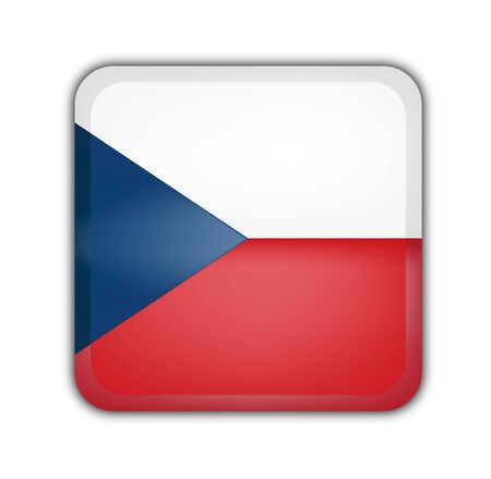 picto: flag of czech republic, square button on white background Stock Photo