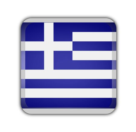 picto: flag of greece, square button on white background
