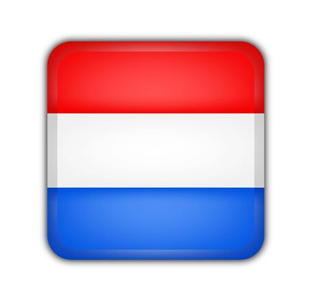 picto: flag of luxembourg, square button on white background Stock Photo