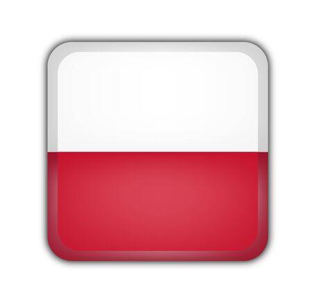 picto: flag of poland, square button on white background