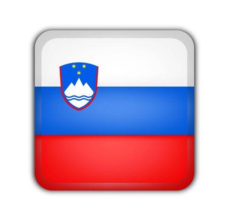 picto: flag of slovenia, square button on white background Stock Photo