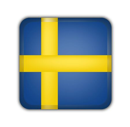 picto: flag of sweden, square button on white background